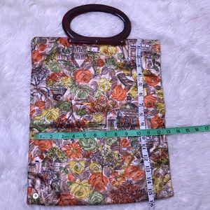 Vintage Bags - VINTAGE Floral Autumn Purse Tote Round Handbag